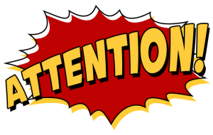 Attention logo - red and gold color